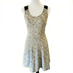 Old Navy Black/Cream Fit & Flare Knit Dress